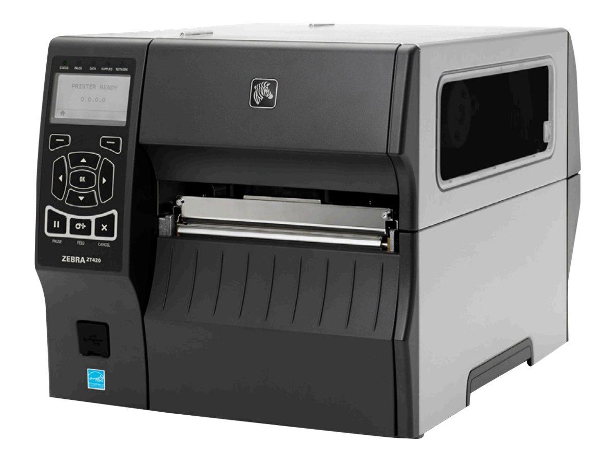 Zebra ZT420, 12 Punkte/mm (300dpi), Peeler, Rewind, RTC, Display, EPL, ZPL, ZPLII, USB, RS232, BT, Ethernet, ZT42063-T4E0000Z