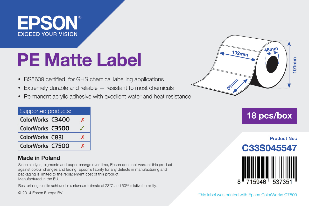 Epson Etikettenrolle, Kunststoff, 102x51mm, C33S045547