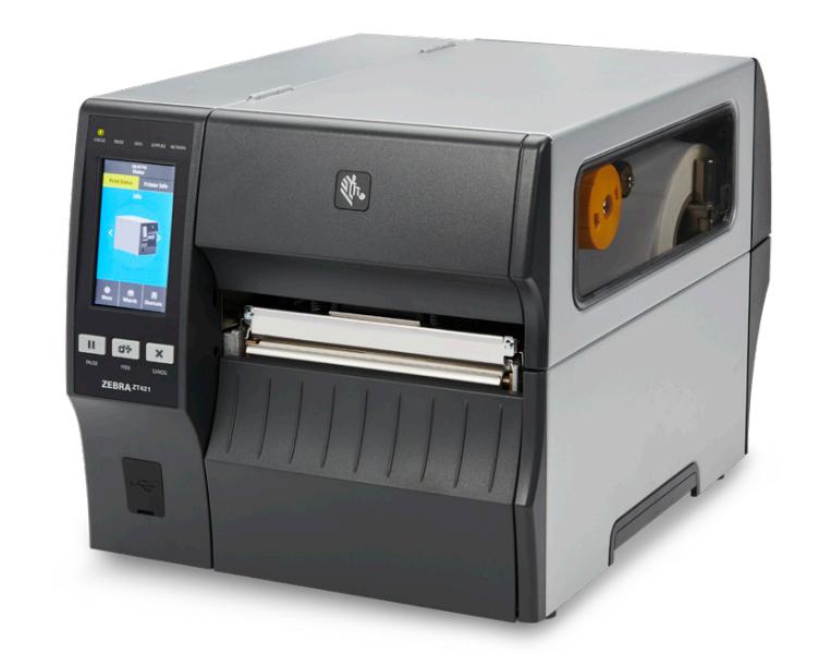 Zebra ZT421, 8 Punkte/mm (203dpi), Peeler, Rewinder, Disp. (Farbe), RTC, EPL, ZPL, ZPLII, USB, RS232, BT, Ethernet, ZT42162-T4E0000Z