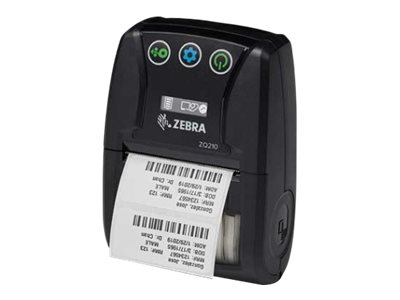Zebra ZQ210, 8 Punkte/mm (203dpi), linerless, CPCL, USB, BT (iOS), schwarz, ZQ21-A0E12KE-00