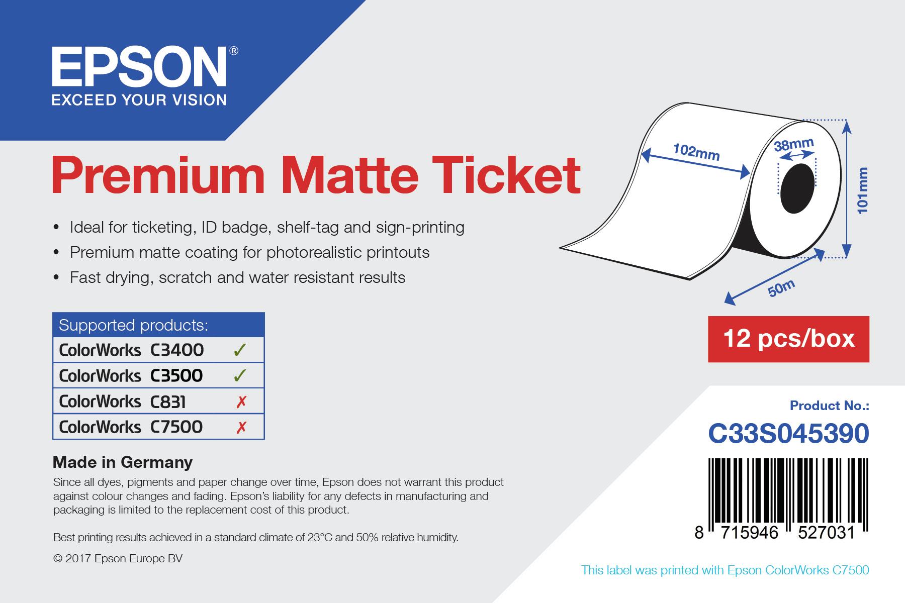 Epson Beleg- / Couponrolle (endlos), Normalpapier, 102mm, C33S045390