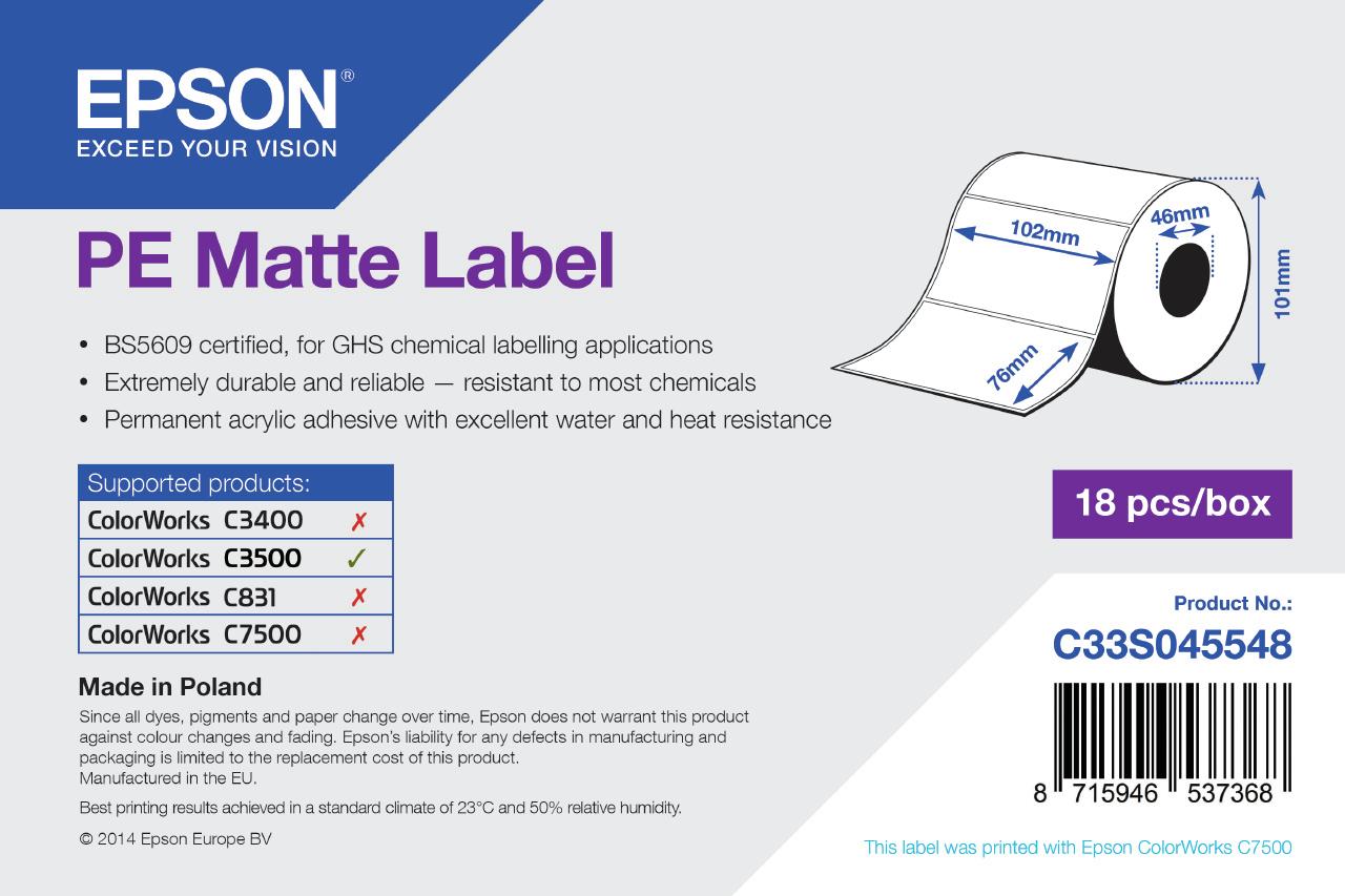 Epson Etikettenrolle, Kunststoff, 102x76mm, C33S045548
