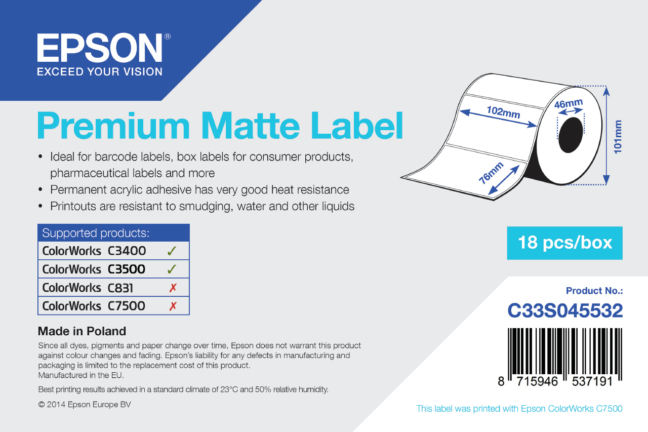 Epson Etikettenrolle, Normalpapier, 102x76mm, C33S045532
