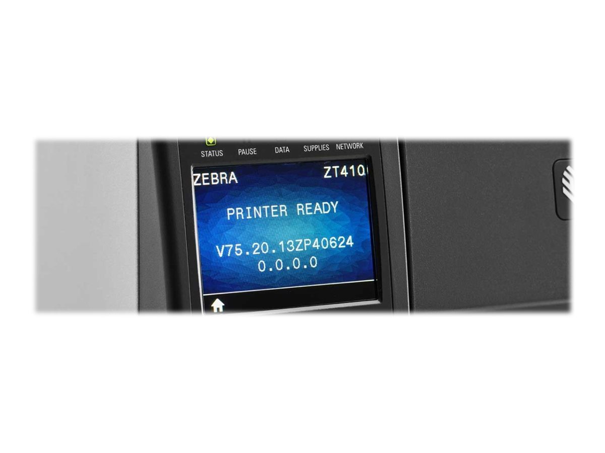 Zebra ZT410, 12 Punkte/mm (300dpi), RTC, Display, RFID, EPL, ZPL, ZPLII, USB, RS232, BT, Ethernet, ZT41043-T0E00C0Z