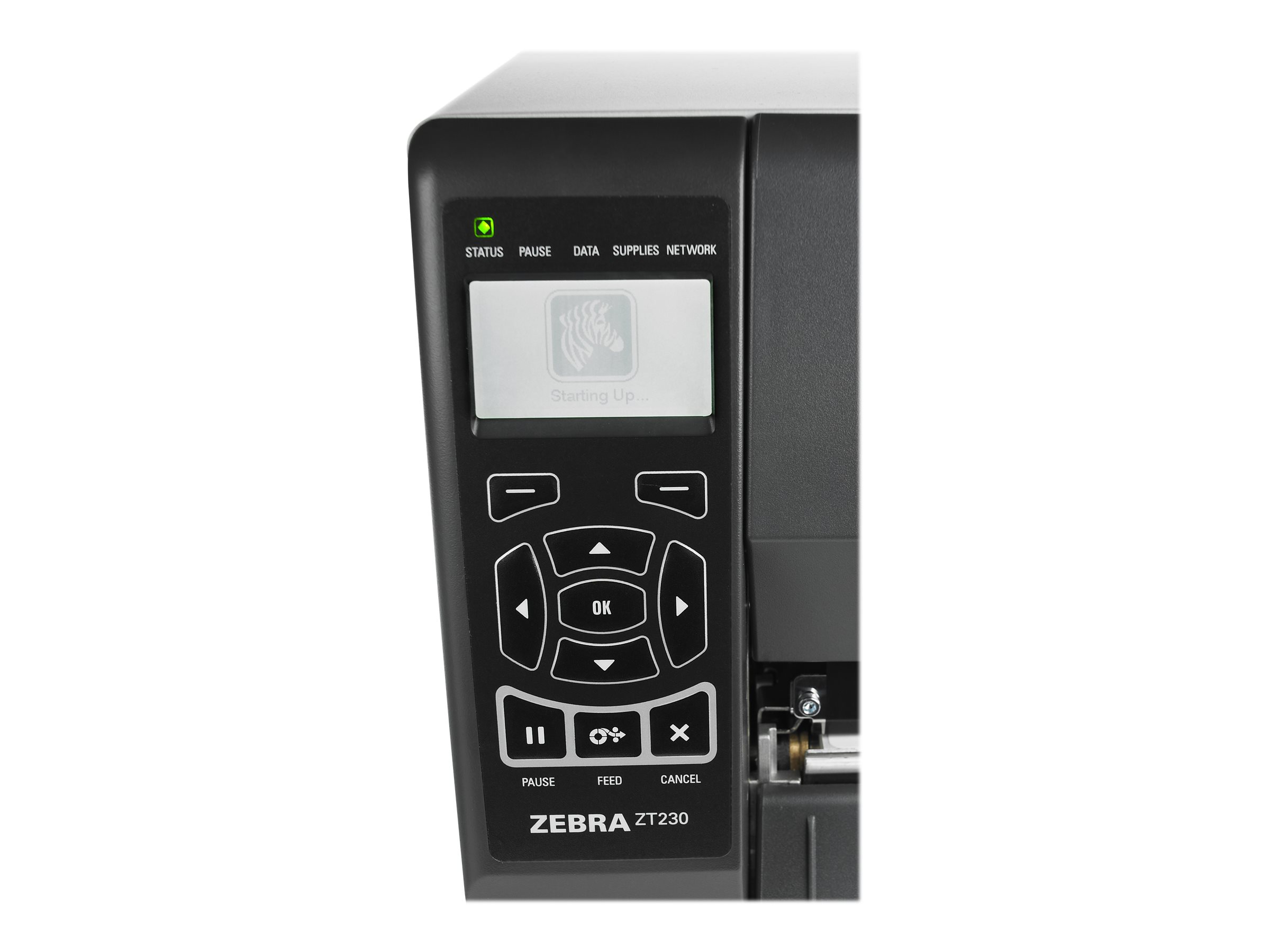 Zebra ZT230, 12 Punkte/mm (300dpi), Cutter, Display, ZPLII, USB, RS232, Ethernet, ZT23043-D2E200FZ