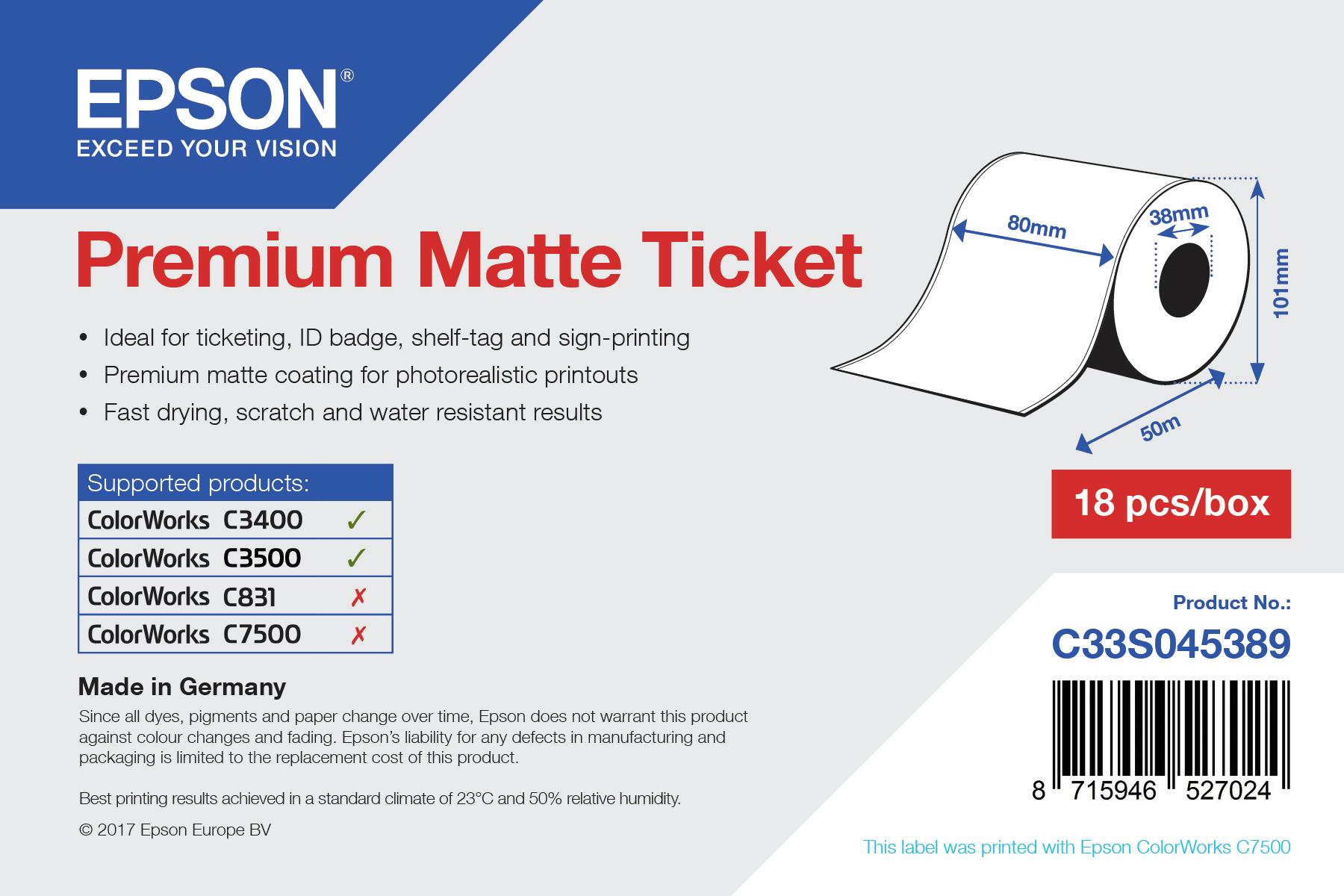 Epson Beleg- / Couponrolle (endlos), Normalpapier, 80mm, C33S045389